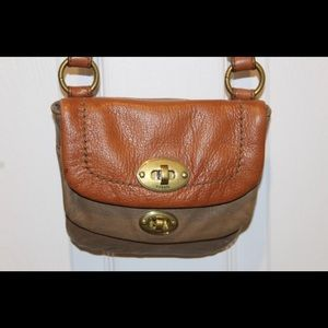 FOSSIL leather crossbody bag with key
